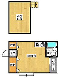 京都府京都市北区平野上八丁柳町の賃貸アパートの間取り