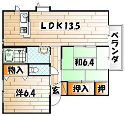 グローブ・たかの B棟[2階]の間取り