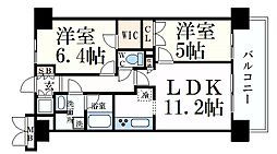 サニープレイス西芦屋2号館 7階2LDKの間取り