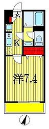 JR京葉線 稲毛海岸駅 徒歩11分の賃貸マンション 2階1Kの間取り
