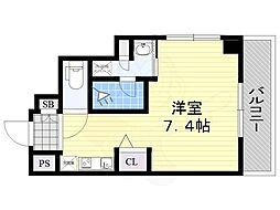 阪急京都本線 南茨木駅 徒歩3分の賃貸マンション 5階ワンルームの間取り
