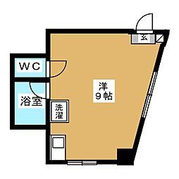 東急目黒線 武蔵小山駅 徒歩1分の賃貸マンション 2階ワンルームの間取り