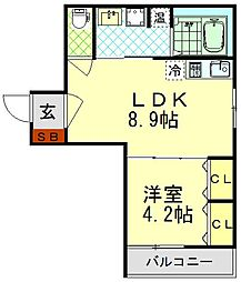 K-HOUSE FIRST 2階1LDKの間取り