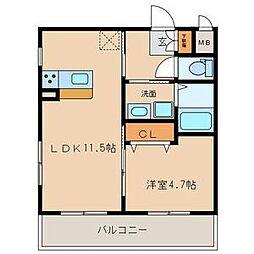 名古屋市営名城線 志賀本通駅 徒歩8分の賃貸マンション 4階1LDKの間取り