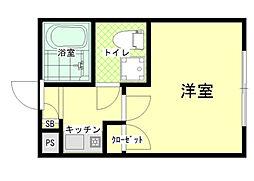 東京都大田区大森中3の賃貸アパートの間取り