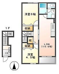 愛知県名古屋市守山区脇田町の賃貸アパートの間取り