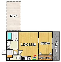 福岡県福岡市早良区大字野芥2丁目の賃貸アパートの間取り