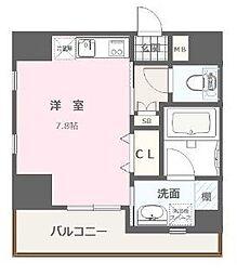 福岡市地下鉄空港線 大濠公園駅 徒歩8分の賃貸マンション 4階ワンルームの間取り