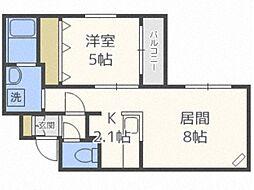 北海道札幌市東区北十八条東16丁目の賃貸マンションの間取り
