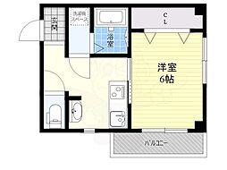 京阪本線 千林駅 徒歩5分の賃貸マンション 3階1Kの間取り