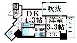 JR東海道・山陽本線 三ノ宮駅 徒歩7分の賃貸マンション 3階1DKの間取り