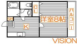 トヤマハイツ1[1階]の間取り