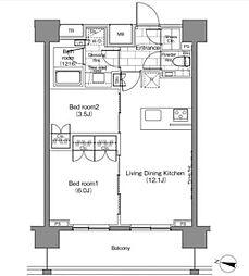 JR山手線 恵比寿駅 徒歩3分の賃貸マンション 14階2LDKの間取り