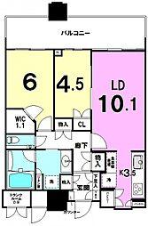 パークシティ武蔵小杉ザ・グランドウィングタワー[2411号室号室]の間取り