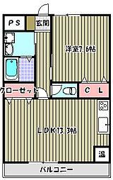 パルファン上野芝II[4階]の間取り