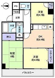 千葉県八千代市ゆりのき台3丁目の賃貸マンションの間取り