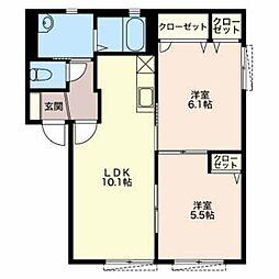 メゾンシャンティ B[1階]の間取り