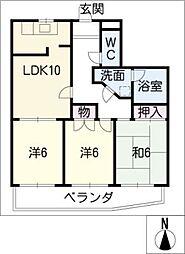 愛知県名古屋市港区川西通5丁目の賃貸マンションの間取り