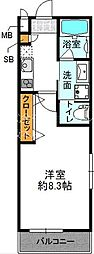 阪急千里線 豊津駅 徒歩2分の賃貸マンション 2階1Kの間取り
