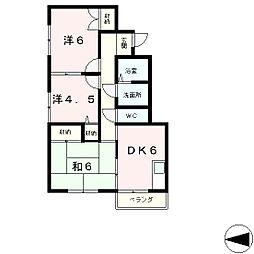 滋賀県大津市螢谷の賃貸アパートの間取り