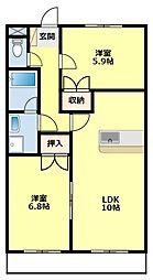 愛知県豊田市永覚新町3丁目の賃貸アパートの間取り