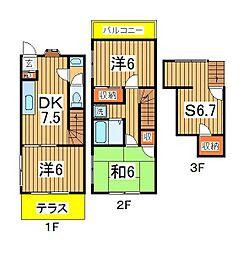 [テラスハウス] 千葉県柏市亀甲台町1丁目 の賃貸【/】の間取り