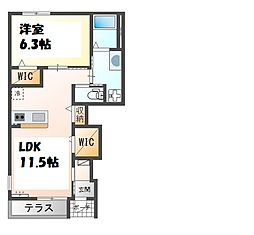 JR加古川線 社町駅 バス11分 社高校前下車 徒歩2分の賃貸アパート 1階1LDKの間取り