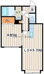 リープ・ブルーメIV 3階1LDKの間取り