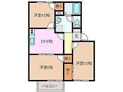 三重県四日市市松本1丁目の賃貸アパートの間取り