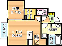 ローズハイツナナ[1階]の間取り