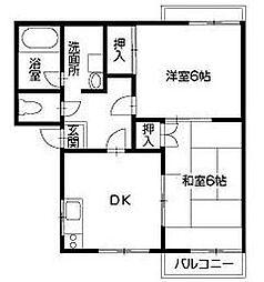 徳島県徳島市南佐古四番町の賃貸アパートの間取り