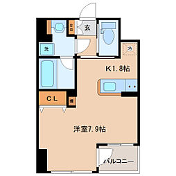 KDXレジデンス仙台駅東 2階ワンルームの間取り