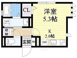 H&B吉田 3階ワンルームの間取り