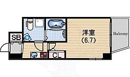 Osaka Metro中央線 阿波座駅 徒歩1分の賃貸マンション 14階1Kの間取り