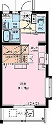 (仮称)神宮東2丁目マンション 1階ワンルームの間取り