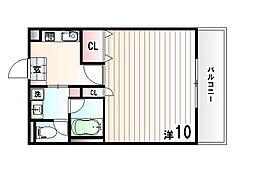 神戸市西神・山手線 伊川谷駅 徒歩4分の賃貸マンション 3階ワンルームの間取り