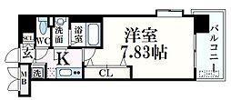 阪神本線 青木駅 徒歩1分の賃貸マンション 7階1Kの間取り