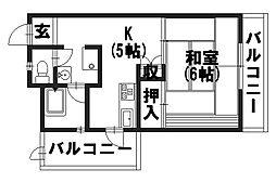 坪内マンション[302号室]の間取り