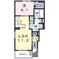サニーハウス微笑II 1階1LDKの間取り