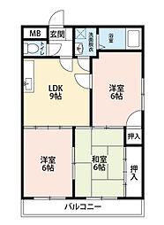 福岡県北九州市八幡西区陣原4の賃貸マンションの間取り