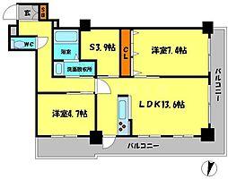 リバーカントリーガーデン京橋[18階]の間取り