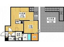 JR宇野線 備前西市駅 徒歩25分の賃貸アパート 2階1LDKの間取り