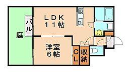 福岡県福岡市城南区片江4丁目の賃貸アパートの間取り