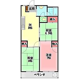 田中第二マンション 4階3DKの間取り