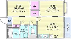 仙台市地下鉄東西線 青葉山駅 徒歩25分の賃貸アパート 2階2DKの間取り