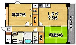 大阪府大阪市東淀川区大桐5の賃貸マンションの間取り
