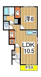 千葉県柏市東中新宿2の賃貸アパートの間取り