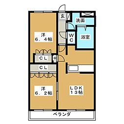 愛知県北名古屋市中之郷北の賃貸マンションの間取り