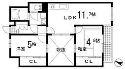 兵庫県神戸市長田区北町2丁目の賃貸マンションの間取り