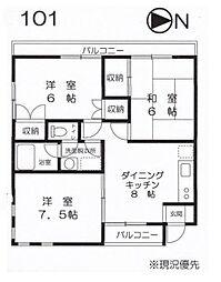 M&K湘南II[B101号室]の間取り